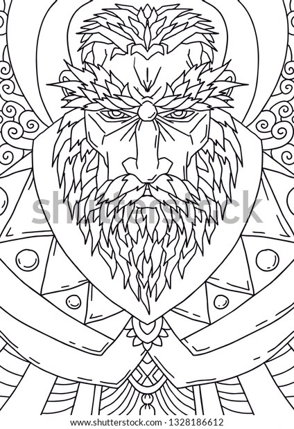 bearded man mustache adult coloring pages stock vector