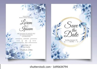 https www shutterstock com image vector beautiful floral wedding invitation classic blue 1690634794