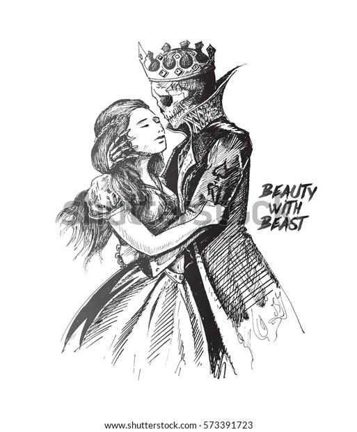 Beauty Beast Beast Prince Girl Hand Stock Vector Royalty Free 573391723