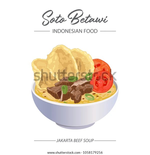 Beef Soup Soto Betawi Indonesian Food Stock Vector Royalty Free 1058179256
