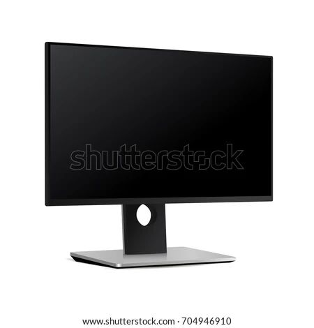 Black Monitor Screen Dell Isolated On Stock Vector Royalty Free