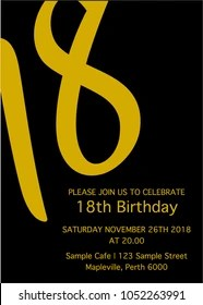 https www shutterstock com image vector black yellow eighteen invitation card 18th 1052263991