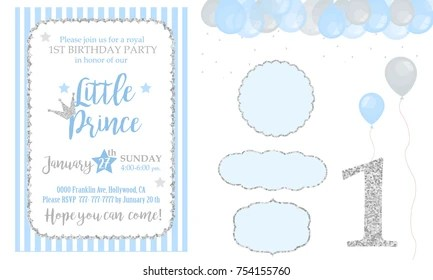 https www shutterstock com image vector blue silver prince party decor cute 754155760