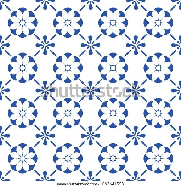 https www shutterstock com image vector blue white ceramic tile seamless pattern 1083641558