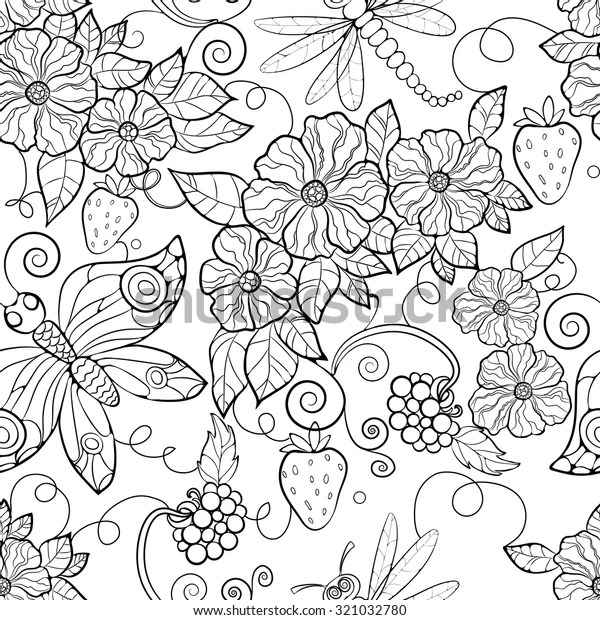 Butterfly Pattern Flowers Coloring Pages Adults Stock Vector Royalty Free 321032780