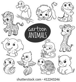 Animals Outline Cartoon Images Stock Photos Vectors Shutterstock