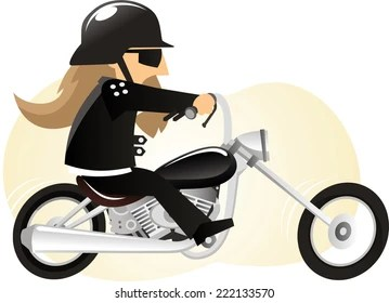 Image result for cartoon motorcycle guy long hair