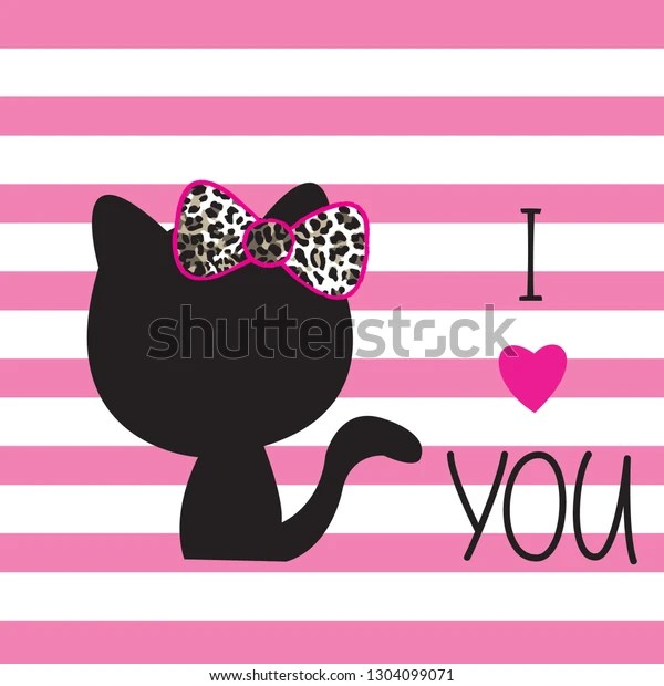 Download Cat Silhouette On Striped Background Love Stock Vector ...