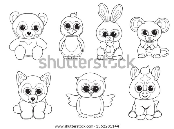 Children Coloring Pages Vector Set Cute Stock Vector Royalty Free 1562281144