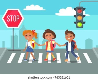 https www shutterstock com image vector children crossing road against city skyline 763281601