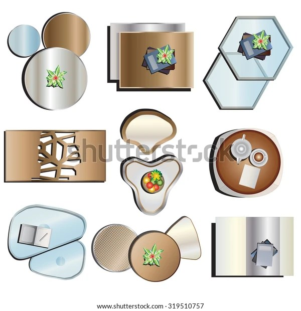 https www shutterstock com image vector coffee table top view set 2 319510757