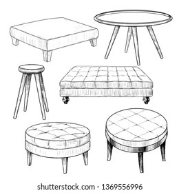 https www shutterstock com image vector collection sketches various coffee tables handdrawn 1369556996