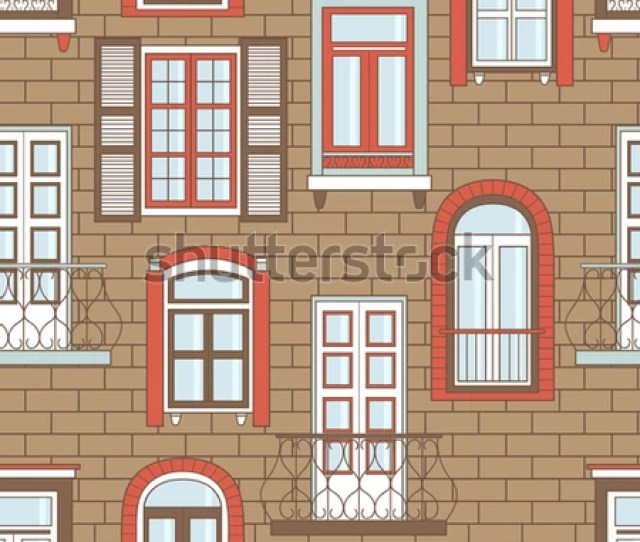 Collection Of Windows On A Wall Colorful Seamless Pattern Vector Wallpaper With Window Icons