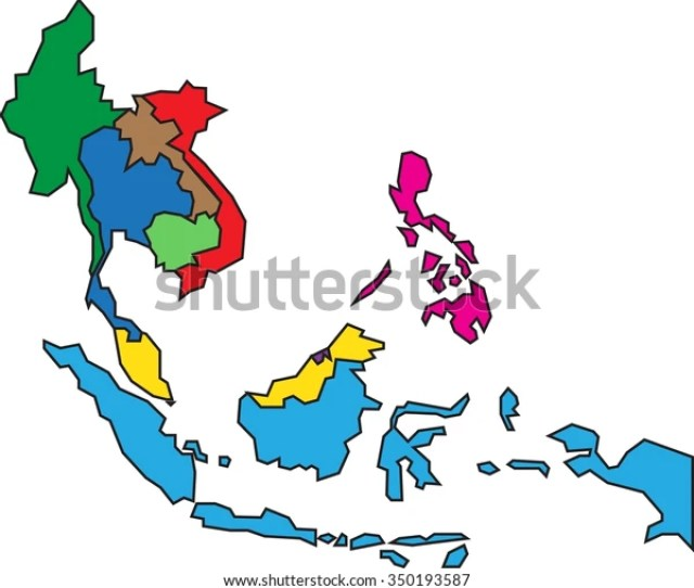 Colorful Asean Map On White Background Stock Vector Royalty Free
