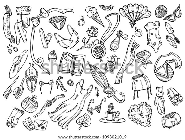 Coloring Page Set Cute Womans Things Stock Vector Royalty Free 1093021019