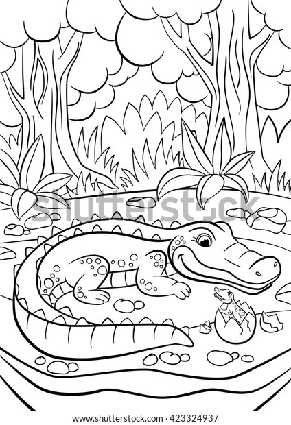 Coloring Pages Animals Mother Alligator Looks Stock Vector Royalty Free 423324937
