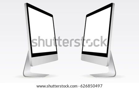 Computer Monitor Apple I Mac Mockup Perspective Stock Vector