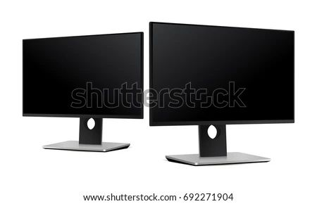Computer Monitor Dell Half Side View Stock Vector Royalty Free