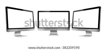 Computer Monitor Mockup Blank Screen Three Stock Vector Royalty