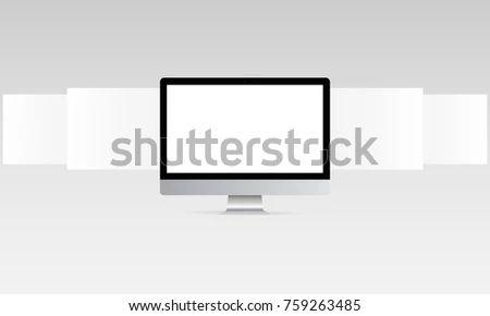 Computer Monitor Mockup Blank Web Wireframing Stock Vector Royalty