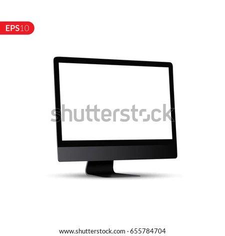 Computer White Display Perspective Vector Design Stock Vector