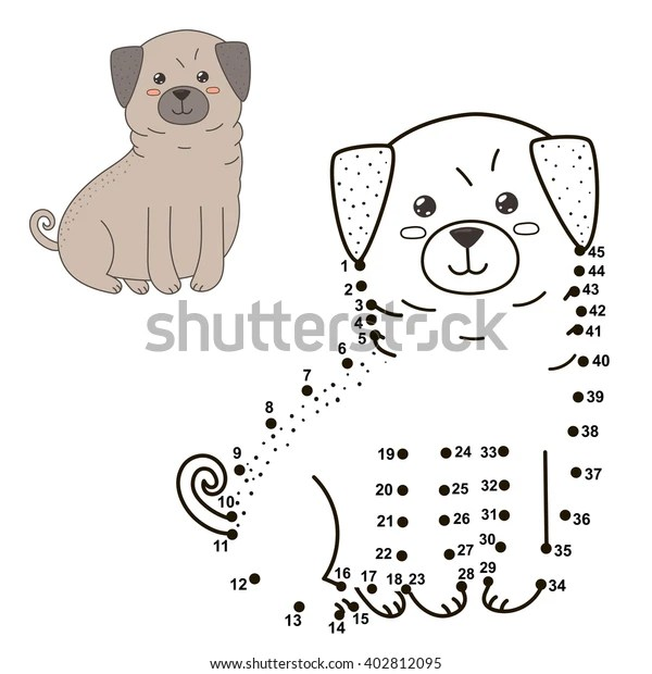 Connect Dots Draw Cute Dog Color Stock Vector Royalty Free 402812095