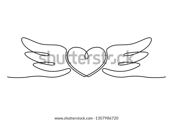 Continuous Line Drawing Heart Wings Valentines Stock Vector Royalty Free 1307986720