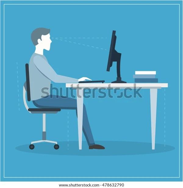 Correct Sitting Posture at Computer. Flat Design Style. Vector illustration