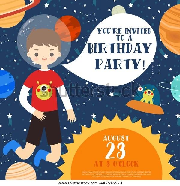 https www shutterstock com image vector cute birthday invitation template cartoon boy 442616620