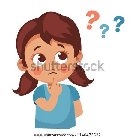 Cute Little Girl Asking Question Cartoon Stock Vector
