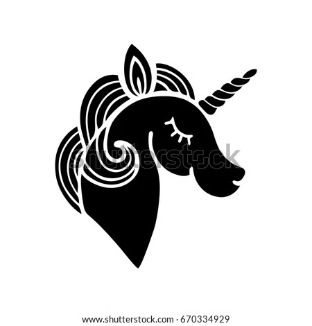 Cute Unicorn Silhouette Isolated On White Stock Vector