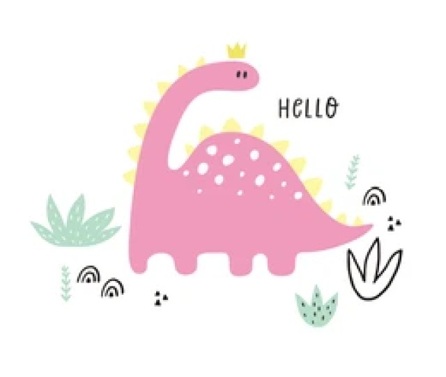 Cute Vector Print With Pink Dinosaur For Baby Girl Cartoon Hand Drawn Illustration Witn Pastel