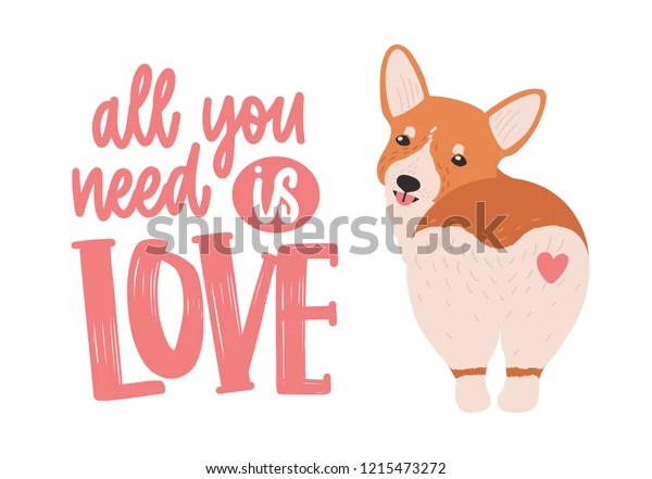 Download Cute Welsh Corgi Heart On His Stock Vector (Royalty Free ...