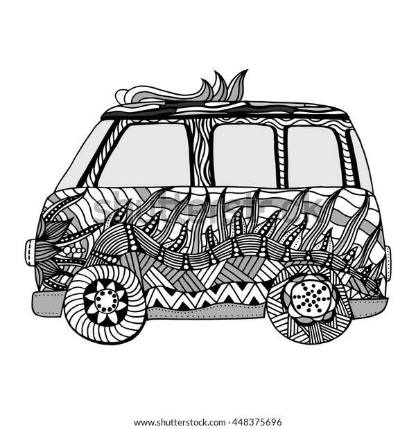 Decorated Old Bus Coloring Page High Stock Vector Royalty Free 448375696