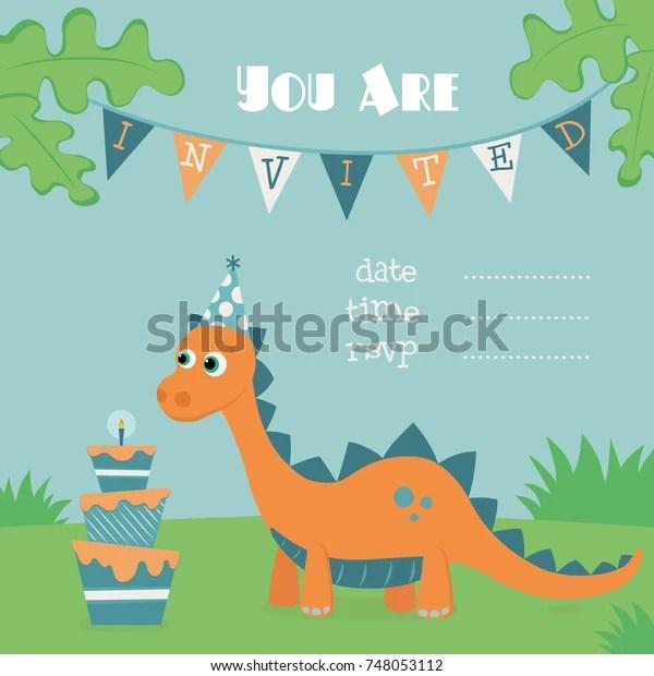 https www shutterstock com image vector dinosaur birthday invitation illustration orange dino 748053112