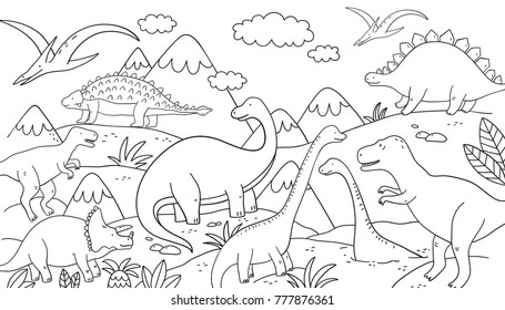 Dinosaurs Coloring Art Images Stock Photos Vectors Shutterstock