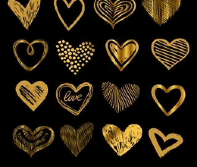 Doodle Golden Hearts Hand Drawn Love Heart Icons Vector Set
