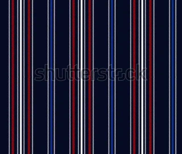 Fabric Retro Stripe Seamless Pattern With Navy Bluered And White Vertical Parallel Stripe