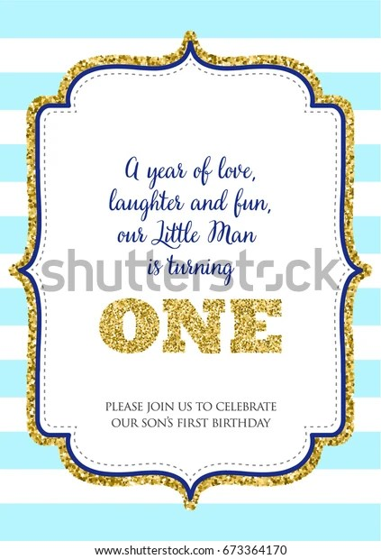 https www shutterstock com image vector first birthday invitation boy one year 673364170