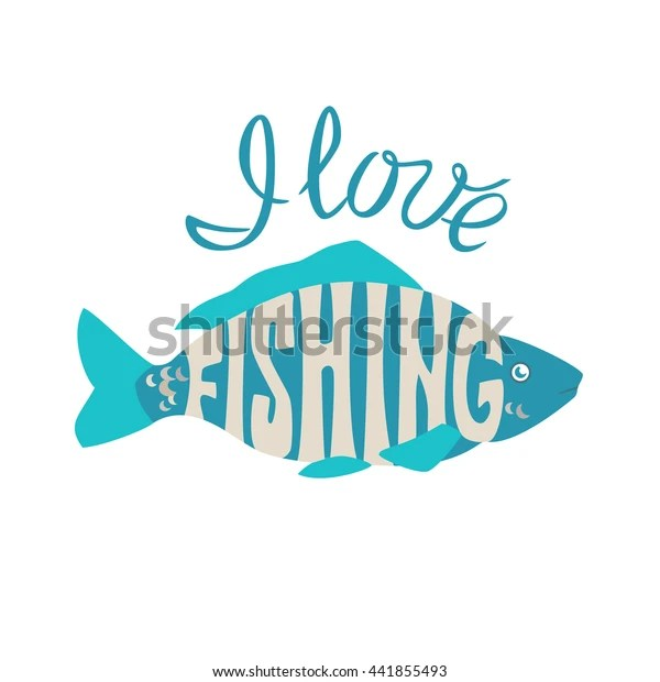 Download Fish Inscription Love Fishing Silhouette Turquoise Stock ...
