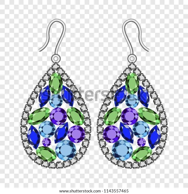 Psd file type compatible with photoshop, gimp, photopea, and other photo editing programs so fontsy standard. Gemstones Earrings Mockup Realistic Illustration Gemstones Stock Vector Royalty Free 1143557465