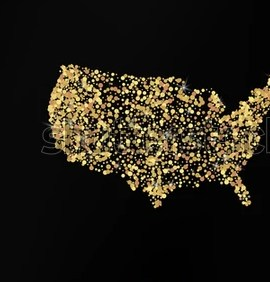 HD Decor Images » Gold Map USA Golden Sand Vector Stock Vector  Royalty Free     Gold map of U S A  with golden sand for vector brochure on black background