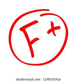 Grade Result F Hand Drawn Vector Grade F In Red Circle Test Exam Mark
