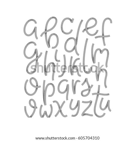 Graffiti Style Typeset Simple Font Script Textured Abc English Latin Alphabet