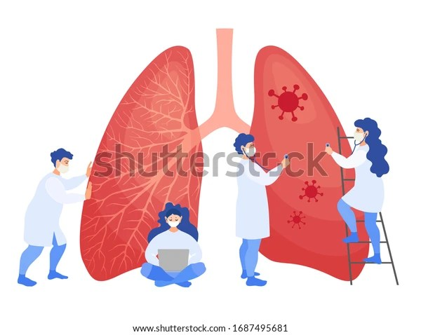 Group of doctors examine the lungs affected by a coronavirus. Vector illustration in cartoon style. Medical personnel in masks rescues from pneumonia. A concept on the treatment of the corona virus.