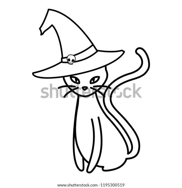 Halloween Black Cat Witch Hat Stock Vector Royalty Free 1195300519