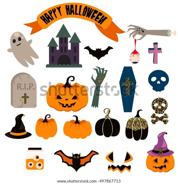 Halloween Vector Clip Art Set Spooky Stock Vector Royalty Free 497867713