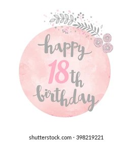 https www shutterstock com image vector happy 18th birthday greeting card floral 398219221