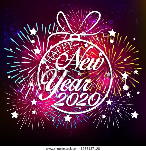 Happy New Year 2020 Background Fireworks Stock Vector Royalty Free 1236137128