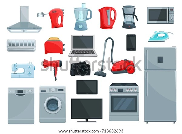 https www shutterstock com image vector home appliance icons set refrigerator microwave 713632693